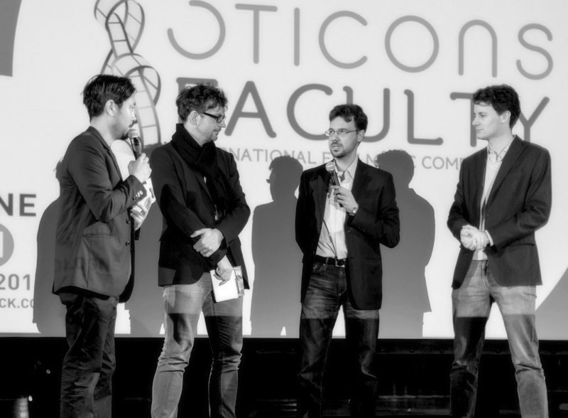 Benjamin Woodgates & Oticons Faculty founder, George Christopoulos, on stage on the Awards ceremony of Soundtrack Cologne 2014.
